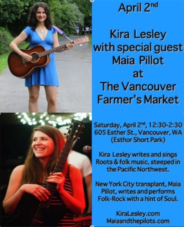 Kira Lesley and Maia Pillott play at the Vancouver Farmers Market.
